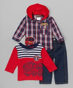Loving this Red Plaid Hooded Button-Up Set - Infant on #zulily! #zulilyfinds