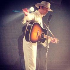 Tom Hiddleston as Hank William Sr on set 'I Saw The Light'.  via Instagram