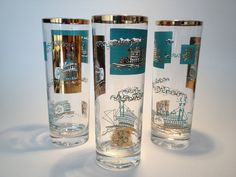 Mid Century Highball Glasses w Gold Accents-Set by PoolhausVintage