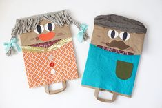 Reuse a paper grocery bag and fabric scraps to make your own giant puppets. This is an awesome boredom buster and creative play idea!