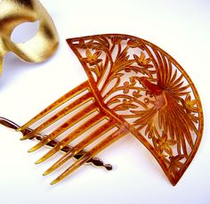 Art Deco Hair Comb Amber Celluloid with Parrot by ElrondsEmporium