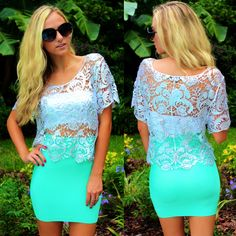 The perfect Bandage Skirt for only $19.99! Available online at sophieandtrey.com in mint and in-store at Sophie in black, white, peach, hot pink, kelly green, mint, and neon coral! 407.324.5747 to order in-store color! Silver Lace Top ($29.99) online and in-store at 4th!