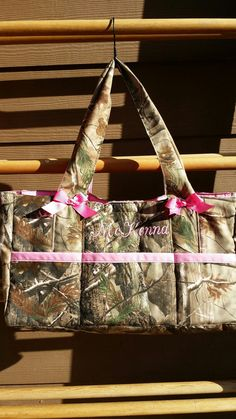 ON SALE******Camo fabric diaper bag made custom to order with any color of your choosing. Has 3 front pockets, ONE large inside pocket,