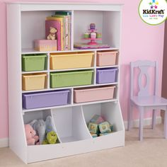 The KidKraft Wall Storage Unit will be the center of your play space! With plenty of shelves for books, removable plastic storage bins for small toys and expanded wooden storage bins on the bottom, this toy storage unit has a place for everything. Toy Storage Units, Kid Toy Storage, Wall Storage, Storage Bins, Storage Spaces, Storage Ideas, Storage Design, Storage Solutions, Storage Center