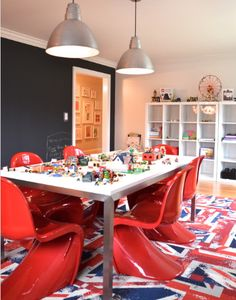 Formal Dining Room Turned Kids Playroom Design Ideas, Pictures, Remodel, and Decor Blue Playroom, Colorful Playroom, Teen Playroom, Indoor Playroom, Modern Playroom, Modern Room, Craft Room Design, Playroom Design, Playroom Ideas