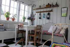 Vintage House interesting tile effect on wooden floors... hmmm