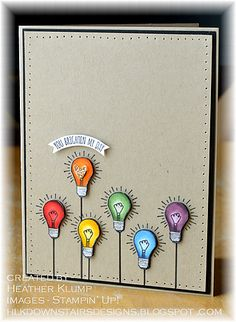 Anything stamped in a spectrum is so cute.  These little light bulbs from You Brighten My Day are no exception!