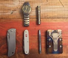 Today's Carry  submitted by Stu  Seiko Titanium  LUMINTOP Tool Ti aaa LED Keychain Flashlight  CRKT Drifter  Victorinox Pioneer  Fisher Space Pen Chrome  EOS Cases Titanium Wallet