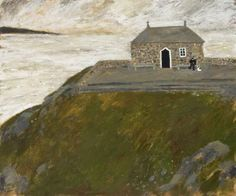 A man sat by the chapel He sat there with his dog He said a prayer for a fisherman Who got lost in the fog. Blunt Art, Seaside Pictures, Dog Poster, St Ives, Naive Art, Art For Art Sake, Beautiful Soul, Illustrators, Art
