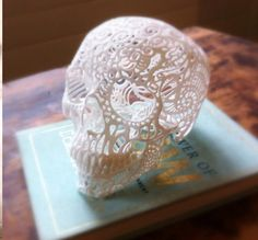 Crochet Skull.  Imagine an array of these around Dia de los Muertos!