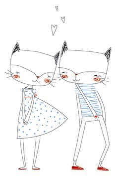 Fox couple. Girl and boy. Hearts. Love. Cute. Line drawing.