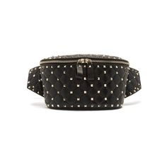 Valentino Rockstud Spike quilted-leather belt bag featuring polyvore, women's fashion, bags, black, quilted bag, valentino bag, quilted leather bag, waist fanny pack and belt bag