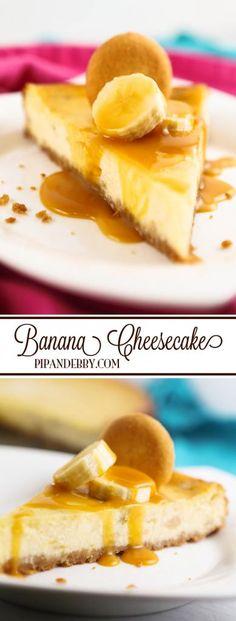 Banana Caramel Cheesecake | Nilla Wafer cookies, bananas and caramel adorn this delicious dessert!