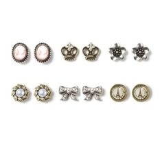 Crowns, Jewels, cameos, bows and Paris Stud Earrings Set of 6. Claire's store   I WANT!!!!!!!!!!!!!!
