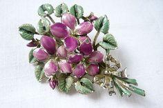 Vintage Jewellery Exquisite Enamel Violet Flowers Brooch   eBay