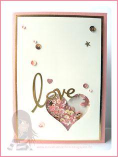 Stampin' Up! rosa Mädchen Schüttelkarte zur Hochzeit in altrose und gold