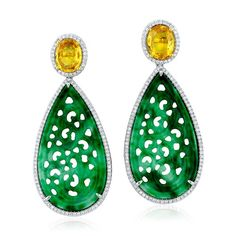 One-of-a-kind earrings in 18k gold with yellow sapphires, green jade, and diamonds by Yael Designs