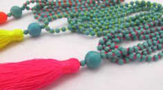 Bright Beaded Tassel Necklace  Aqua Beaded  Neon by ljcdesignss