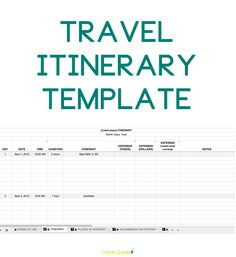 Get This Travel Itinerary Template For Future Use On The Blog  Http://travelfindsshop