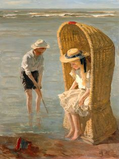 Two Children at the Seaside - Jan de Jong (1863-1901) - Scarborough Museums Trust