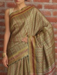 Olive Red Chevron Tussar Silk Saree