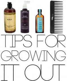 Great tips for growing out, HEALTHY hair. Need to remember! (Growing out inverted bob.)