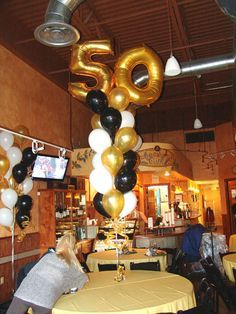 masculine 50th birthday centerpieces | 50th Birthday party balloon bouquets
