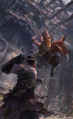 Wuxia Martial Arts Battle Fantasy Concept Art, Sci Fi Fantasy, Fantasy Warrior, Fantasy Artwork, Dungeons And Dragons, Rpg, Computer Art, Cg Art, Sci Fi Art