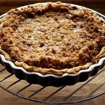 Peach-Mascarpone Custard Pie with Amaretti Cookie Crumble from Evan Kleiman, host of KCRW's Good Food, Los Angeles
