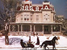 """A look at the Second Empire Victorian on Kensington Avenue in the classic movie """"Meet Me in St. Classic Christmas Movies, A Christmas Story, Holiday Movies, Classic Movies, Christmas Christmas, Xmas Movies, Christmas Classics, Christmas Scenery, Top Movies"""