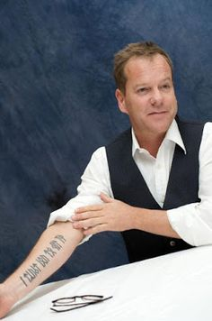 """Keifer Sutherland's tattoo in Younger Futhark runes reads: """"I Trust You to Kill Me"""". The phrase, as he explains, is a way for him to remember and accept. Viking Rune Tattoo, Norse Tattoo, Inca Tattoo, Celtic Tattoos, Symbols Tattoos, Wiccan Tattoos, Body Art Tattoos, Sleeve Tattoos, Tatoos"""