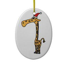 Giraffe Christmas Design Ornament #giraffes #Christmas #ornaments #funny And www.zazzle.com/inspirationrocks*