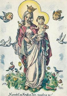 Old Czech Christmas Card Marie Fischerová Kvěchová Stella Maris, Blessed Mother Mary, Madonna And Child, Children Images, Painting Patterns, Vintage Postcards, Vintage Art, Christmas Cards, Mandala