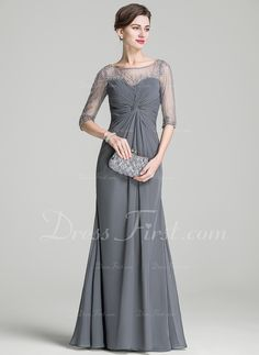 4967d2868b68 A-Line Princess Scoop Neck Floor-Length Chiffon Mother of the Bride Dress  With Ruffle Beading Sequins (008072716). Bridesmade DressesBride ...