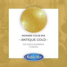 How to mix a sparkling Antique Gold color using the new Satin Ice Gold Shimmer fondant! Method: Mix 100 parts Gold Shimmer with 1 part classic Satin Ice Green fondant. ✨Knead until fully combined. Gold Fondant, Satin Ice Fondant, Fondant Icing, Rolling Fondant, Icing Colors, Cake Supplies, Peppermint Mocha, Edible Glitter, Colorful Cakes