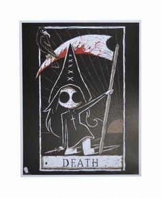A gorgeous high quality print of our Tokyo Chan character holding a scythe in our portrayal of the Death Tarot card. - Signed by Joey, the artist (on back of print, unless otherwise specified) - Get t