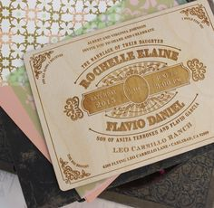 Wood Engraved Wedding Invitation