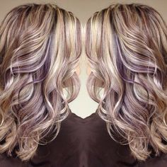 50 Long Blonde Hair Color Ideas in Many of us wondered that at some point we would look like athlete blonde tresses. Don't worry here we have prepared a list of yellow color ideas to he. Violet Hair Colors, Hair Color Purple, Hair Color And Cut, Purple Highlights Blonde Hair, Cool Blonde Hair, Highlights 2017, Red Blonde, Platinum Blonde, Blonde Hair With Color