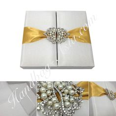 Ivory embellished two door box for wedding + event invitations  with pearl crown brooch embellishment