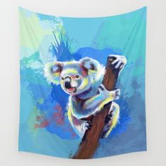 Available in three distinct sizes, our Wall Tapestries are made of 100% lightweight polyester with hand-sewn finished edges. Featuring vivid colors and crisp lines, these highly unique and versatile tapestries are durable enough for both indoor and outdoor use. Machine washable for outdoor enthusiasts, with cold water on gentle cycle using mild detergent - tumble dry with low heat. #koala #animal #cute #colorful #painting #digital #art #illustration #tapestry #homedecor