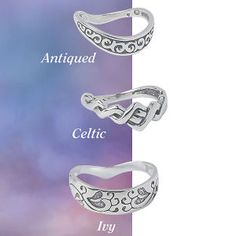 Adornment for the most distinguished digits! Choose from the trio of sterling silver thumb rings for a touch of opposing opulence. Whole sizes 8-10.