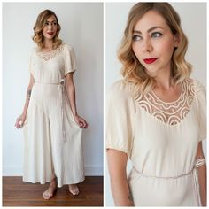 Vintage 1920's/1930's Cream Romper Lingerie/ Vintage Pajamas Playsuit Lounge Wear/ One Piece Lingerie by VintageVictoryGirl on Etsy https://www.etsy.com/listing/461143452/vintage-1920s1930s-cream-romper-lingerie