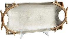 Cyan 21  Antler-Handle Tray - Silver/Gold