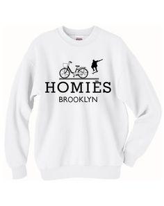 BTF+Homies+Brooklyn+inspired+logo+infamous+parody+crew+neck+sweatshirts+(white)