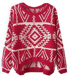 Women Loose Geometry Printed Pullover Sweater