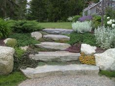 Sloped Backyard Landscaping, Landscaping With Boulders, Stone Landscaping, Sloped Garden, Landscaping Ideas, Inexpensive Landscaping, Backyard Designs, Garden Stairs, Tiered Garden