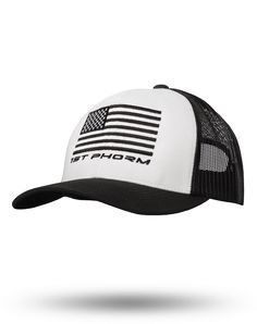 "Snapbacks have become our favorite type of hat lately. Mostly because they look good on everyone. The white front/black mesh patch hat was wildly popular last year, so we had to bring it back with an entirely new design. The American Flag in all black with the famous ""Phresh"" logo is embroidered on the front of this hat. We like it so much that we had to order more just for our staff to be able to buy them."