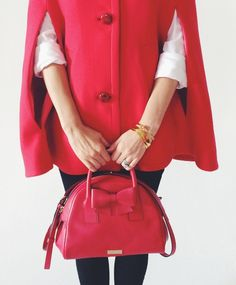 It's love at first sight | Dynasty red Kate Spade leather dome satchel.