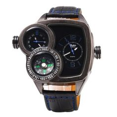 Oulm 3670 Double Quartz Leather Band Compass Male Watch #women, #men, #hats, #watches, #belts, #fashion
