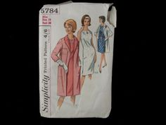 Dressmaking pattern; Simplicity - No.5784 - Misses one piece dress and coat. Paper pattern, size 18. 1964